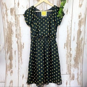 Black & Gold Polka Dot Sheer Overlay Midi Dress
